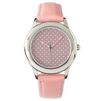 Liten vitpolka dots på mjuka rosor armbandsur