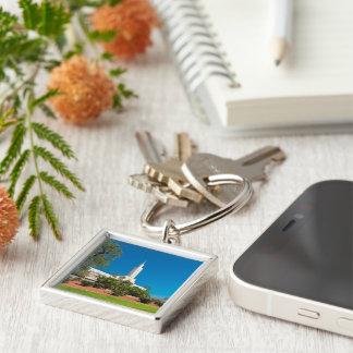 """Litet (1,38"""") högvärdigt kvadrerar Keychain LDS LA Fyrkantig Silverfärgad Nyckelring"""