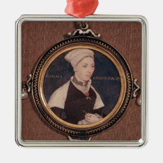 Litet miniatyrporträtt av Jane Julgransprydnad Metall