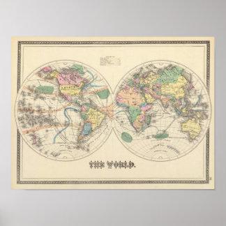 Lithographed världskarta poster