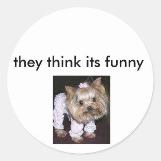 littledog2 tänker de dess roligt runt klistermärke