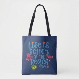 Liv är bättre på den strandFlorida souvenir hänger Tygkasse