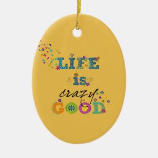 Liv är den galna bran julgransprydnad keramik