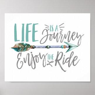 Liv är en resa tycker om den rittBoho wanderlusten Poster