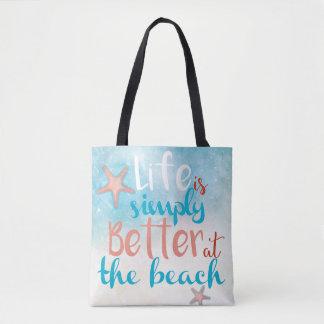 Liv är enkelt bättre på totot för strand | hänger tygkasse