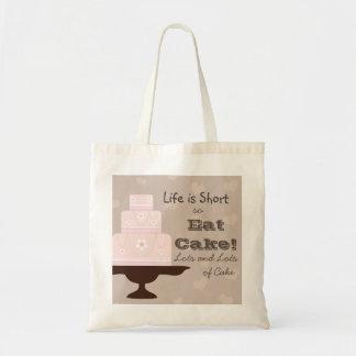 Liv är kort, så äta tårtan budget tygkasse
