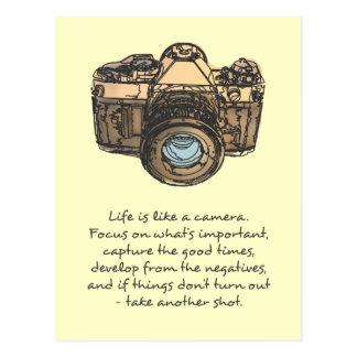 Liv är likt ett kameracitationstecken som är indie vykort