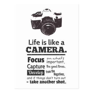 Liv är likt ett kameracitationstecken, svart vykort