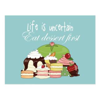 Liv är osäkert äter efterrätten först vykort