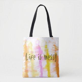 Liv är smutsig abstrakt stekflott målar randar tygkasse