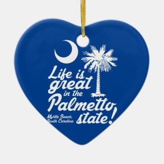 Liv är underbart i den statliga palmettoen! julgransprydnad keramik