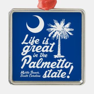 Liv är underbart i den statliga palmettoen! julgransprydnad metall