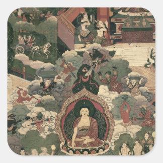 Liv av Buddha Sakymuni Fyrkantigt Klistermärke