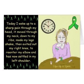 Liv av tecknad för dam för Lymie Lyme sjukdom en Hälsningskort