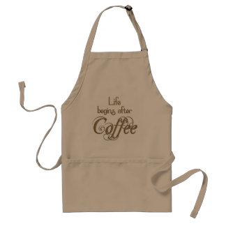 Liv börjar efter kaffe förkläde