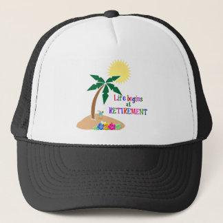 Liv börjar på pensionen, tropisk strand truckerkeps