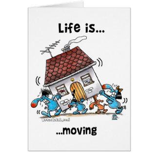 Liv flyttar sig hälsningskort