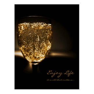 Liv för citationstecken för champagne för vykort
