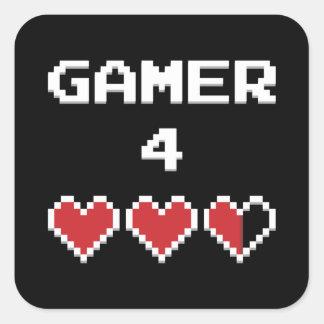 Liv för Gamer 4 Fyrkantigt Klistermärke
