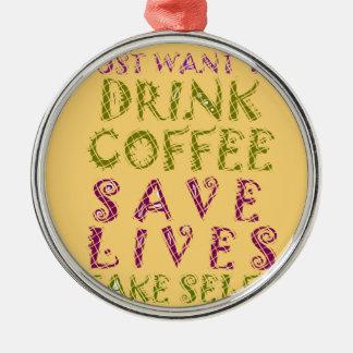 Liv för spara för vintagedrinkkaffe och tar rund silverfärgad julgransprydnad