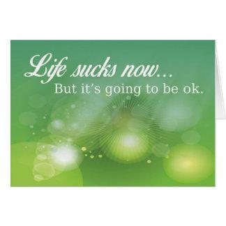 Liv suger nu, men det går att vara ok hälsningskort