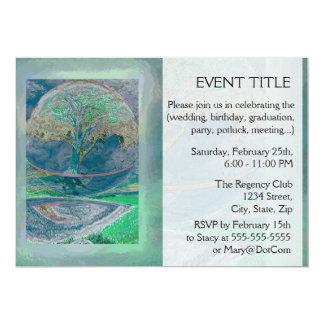 Livets träd i bleken - gröntfärger 12,7 x 17,8 cm inbjudningskort