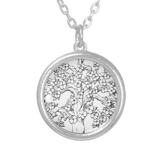Livets träd silverpläterat halsband