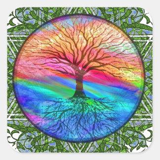 Livets träd - vitalitet fyrkantigt klistermärke
