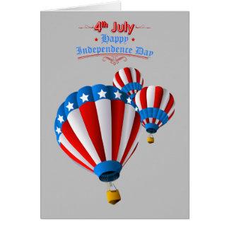 Livlig amerikanska flagganJuli 4th luftballong Hälsningskort