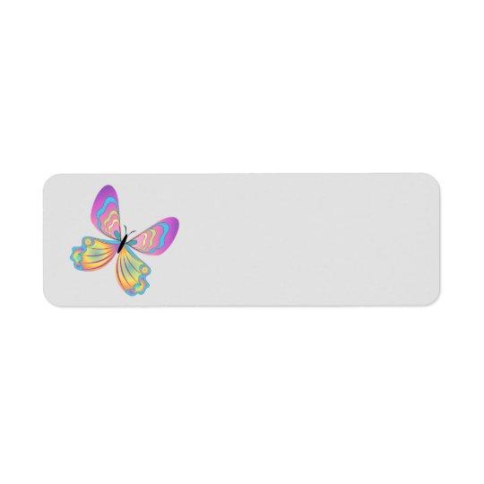 Livlig fjärilsreturadresslabe returadress etikett