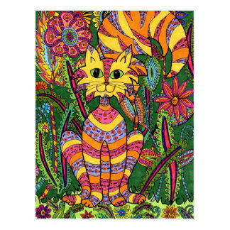 Livlig trädgårds- katt 2 vykort