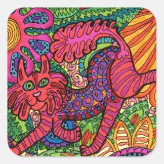 Livlig trädgårds- katt fyrkantigt klistermärke