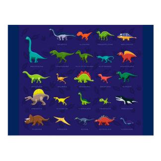 Livliga Dinosaurs med namn under Vykort