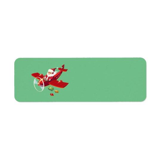 Livliga Santa och hans flygplan Returadress Etikett