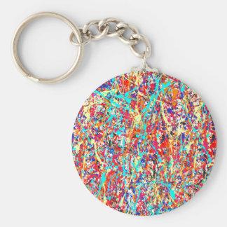 Livligt måla Splatterabstrakt Rund Nyckelring