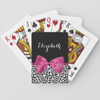 Livligt mörkt rosa bandLeopardtryck med namn Casinokort