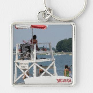 Livräddare på stranden fyrkantig silverfärgad nyckelring
