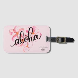 Ljus Aloha rosa märkre för Plumeriablommabagage Bagagebricka