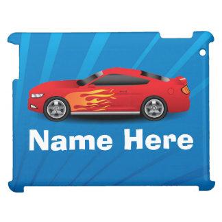 Ljus blått med den röda sportbilen flammar iPad mobil fodral
