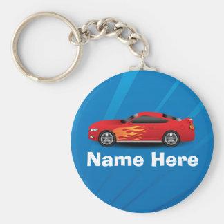 Ljus blått med den röda sportbilen flammar nyckelring