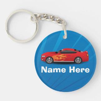 Ljus blått med den röda sportbilen flammar keychains
