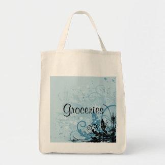 Ljus blom- design för Grunge - - blått Mat Tygkasse