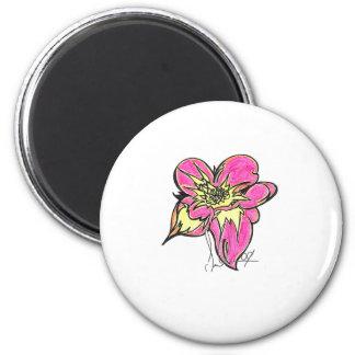 Ljus blomma magnet rund 5.7 cm