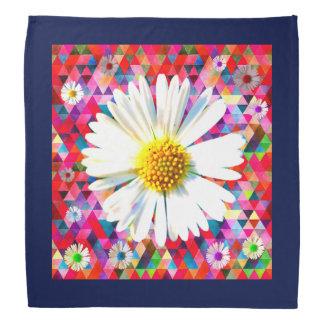 Ljus daisy på mångfärgad patchwork scarf