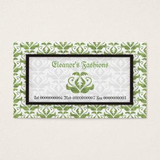 Ljus elegant - gröna damastast modevisitkortar visitkort