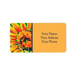 Ljus färgrik målning för singelsolrosakryl adressetikett