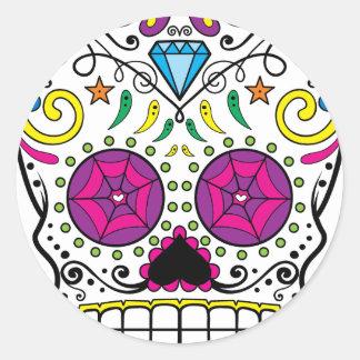 Ljus färgrik sockerSkalle-Diameter Des Los Muertos Runt Klistermärke