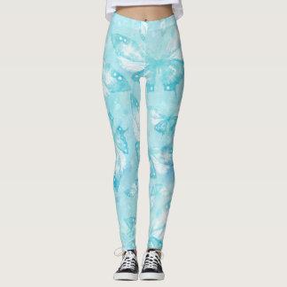Ljus fjärilsvattenfärg - blåttvit leggings