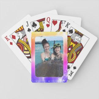 Ljus flickaktigt pastell för personligfotoram spelkort