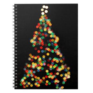 Ljus för julgranBokeh mång- färgad Anteckningsbok